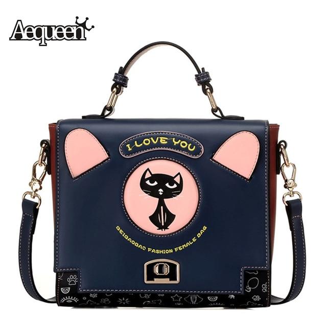 3feebd5c3288 AEQUEEN Cute Cat Handbag Women Trunk Handbags PU Leather Shoulder Bags  Boxes Large Crossbody Bag Cartoon
