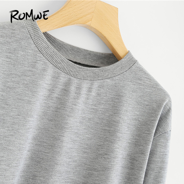 Grey Stripe Tape Detail Pullover Female Casual Sweatshirt 2