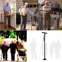 Foldable Walking Stick with LED Light Safety 4 Head Pivoting Trusty Base For Old Man T Handlebar Trekking Poles Cane Drop Ship