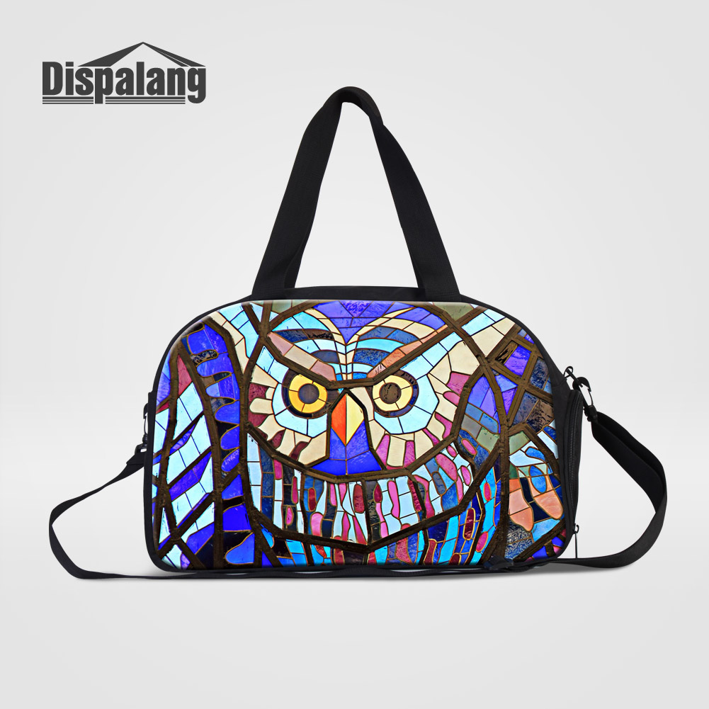 Dispalang Unique Design Luchky Owl Printing Women Travel Duffle Bags With Shoes Pocket Practical Hand Weekend Bag For Girls TripDispalang Unique Design Luchky Owl Printing Women Travel Duffle Bags With Shoes Pocket Practical Hand Weekend Bag For Girls Trip