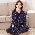 Moda Mulheres Homewear Sleepwear Primavera Outono Pijama de Algodão Puro Plus Size Marinha Terno de Roupa 2 Peças Conjunto de Pijama Para Senhoras