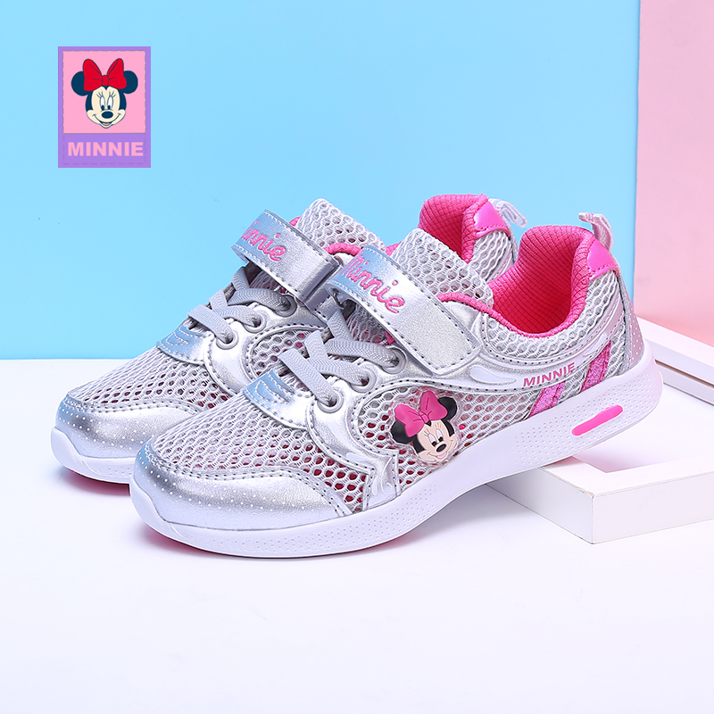 Disney Girls Minnie Shoes Spring Toddler Light Weight Sneakers Sports Pink Mesh Cute Kids 2019 New Breathable Sports Trainers