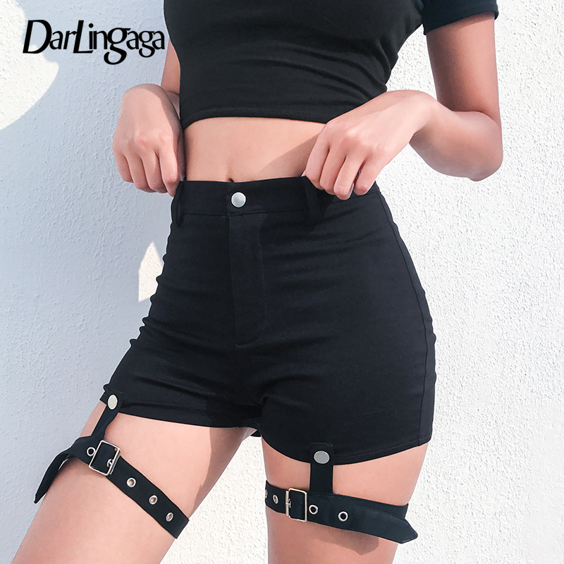 Darlingaga Fashion Black Slim Summer Shorts Women Fitness Punk Detachable Ribbon High Waist Shorts 2019 Bottom Short Mujer Sexy