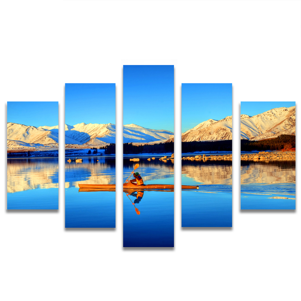 Unframed Canvas Painting Blue Sky Snow Mountain Lake Photo Picture Prints Wall Picture For Living Room Wall Art Decoration