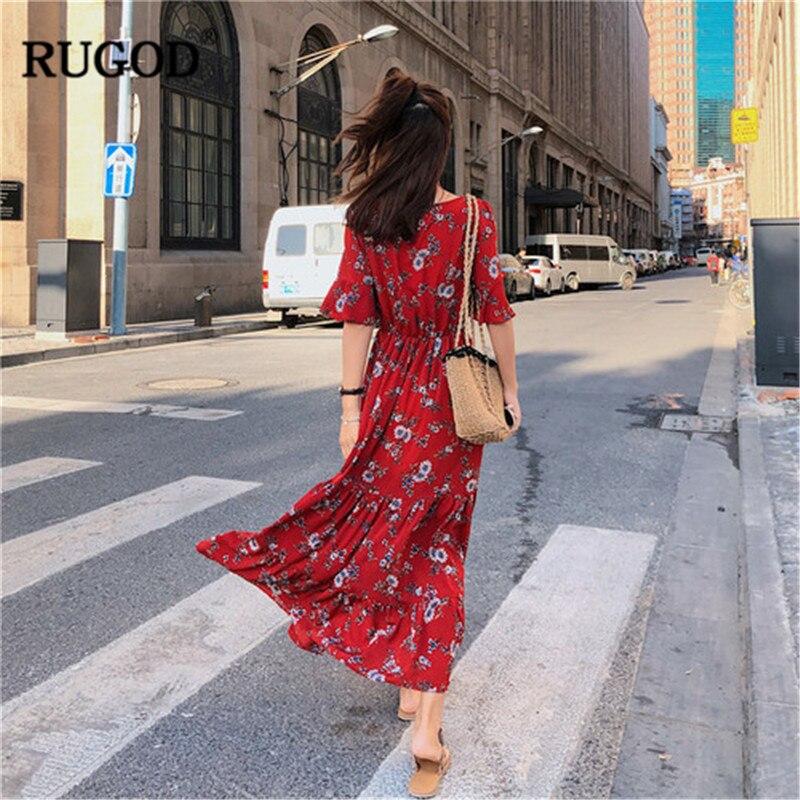 RUGOD Women Spring Summer Dresses Fashion Floral Print Long Red Dress Vestidos Casual V Neck Tunic Pleated Dress Maxi Dress