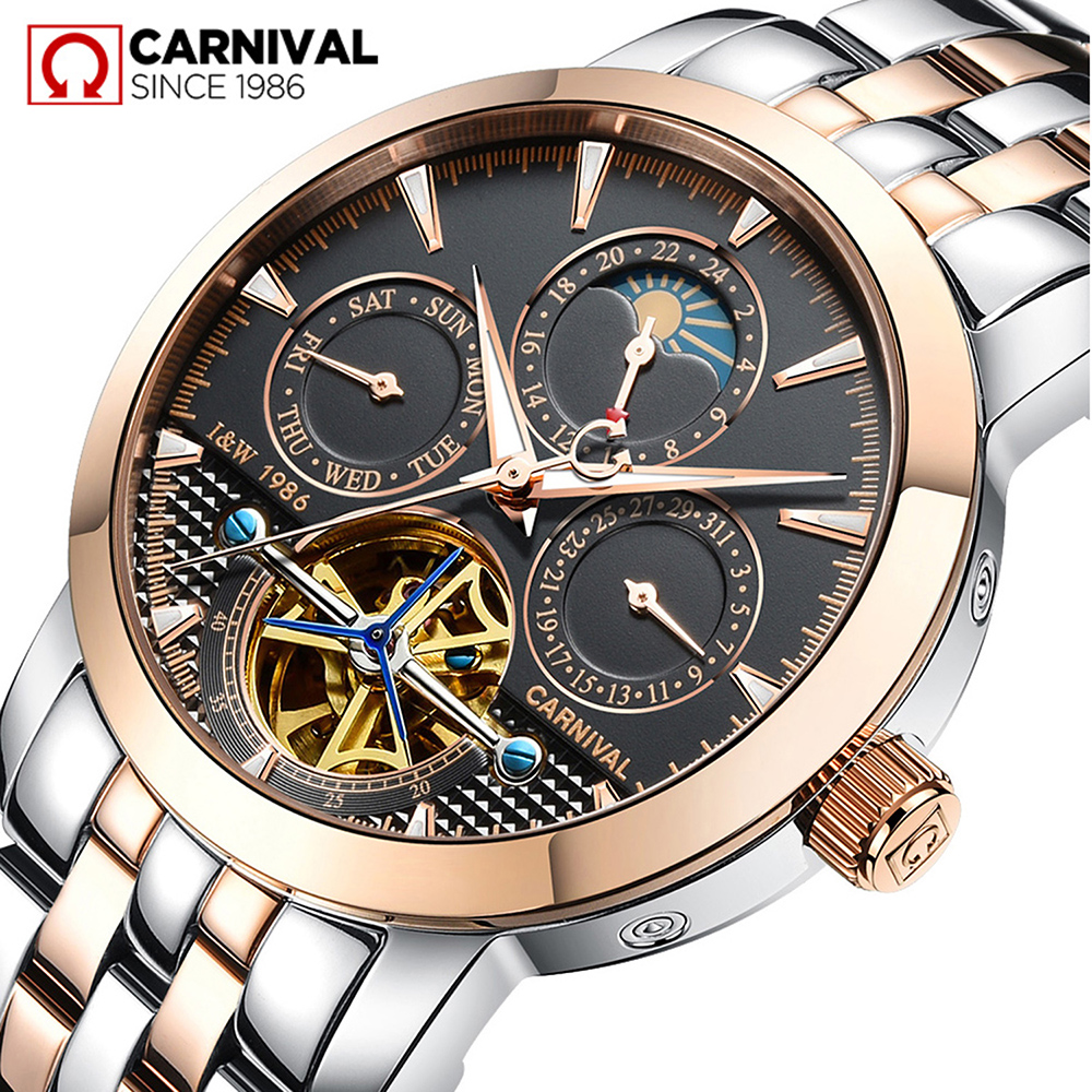 лучшая цена Carnival Watch Men tourbillon Automatic Mechanical Luminous Stainless Steel multifunction Waterproof Black Dial Watches