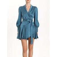 2019 женское асимметричное плиссированное платье с запахом на талии шелковое сексуальное платье с глубоким v образным вырезом летнее праздни
