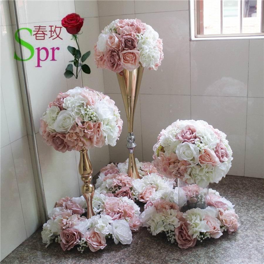Centro de mesa de boda SPR, Bola de flores para boda, pista de plomo artificial, centro de mesa, decoración de fondo de flores para boda