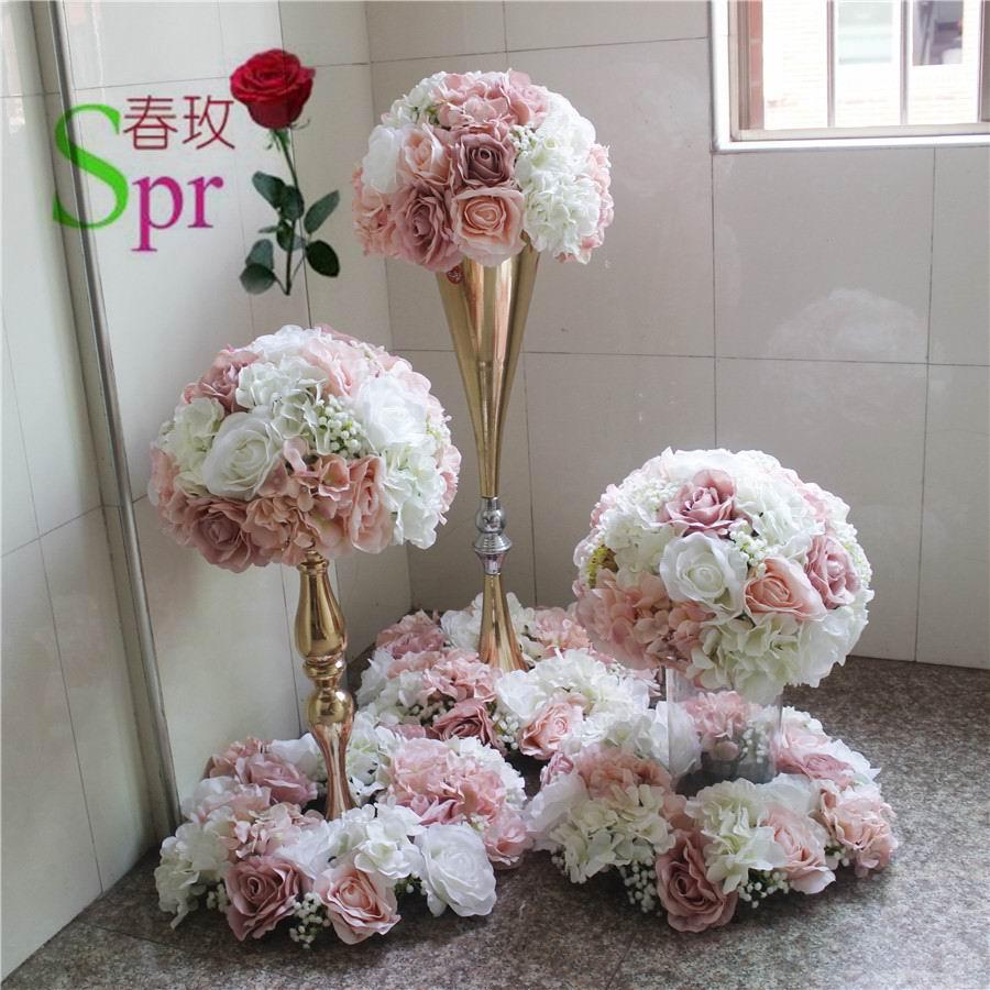 SPR weselne centrum kula z kwiatów ślub ołowiu drogowego sztuczne flore centralny ślub tło dekoracja kwiatowa w Sztuczne i zasuszone kwiaty od Dom i ogród na  Grupa 1