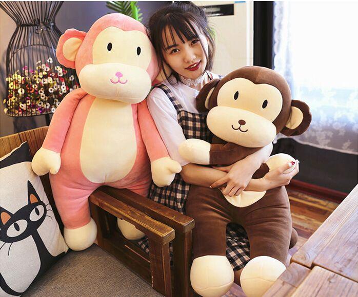 Gros peluche singe jouet doux rose ou marron singe oreiller cadeau environ 100 cm