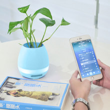 portable Music Flower Pot Speaker Smart Wireless MP3 Bluetooth mini diy Office Home Speakers Desk Touch small Night LED speaker(China)