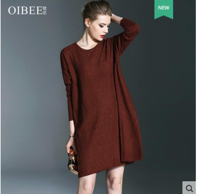 2018 autumn wear new bat sleeve sweater dress with fashionable and versatile base coat