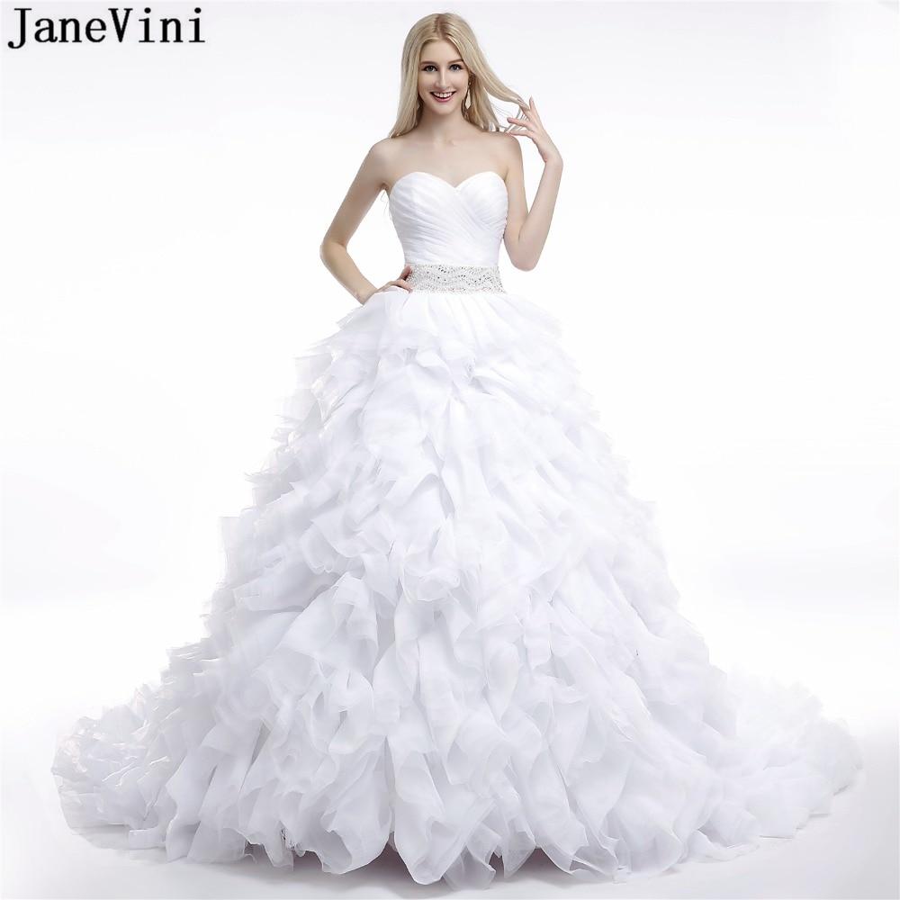 Abiti Da Sposa 2018.Janevini Luxurious White Wedding Dresses Ball Gown Sweetheart