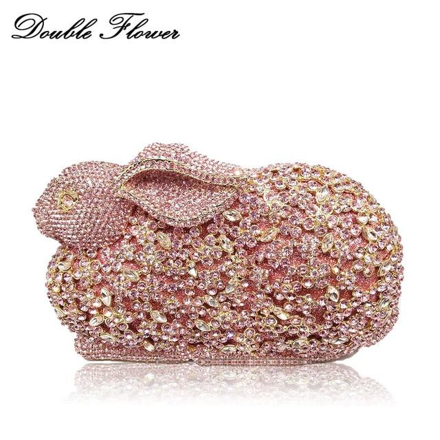 Double Flower 3D Rabbit Shape Women Crystal Minaudiere Clutch Handbag Purse  Wedding Party Evening Diamond Metal 1ccebe8357e9