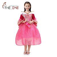 Girls Sleeping Beauty Princess Party Dresses Children Aurora Flare Sleeve Cosplay Costume Clothing Kids Sequins Tutu
