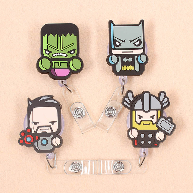 1 Pcs Cute The Avengers Superman Batman Retractable Nurse Badge Reel Exhibition ID Card Clips Badge Holder Stationery