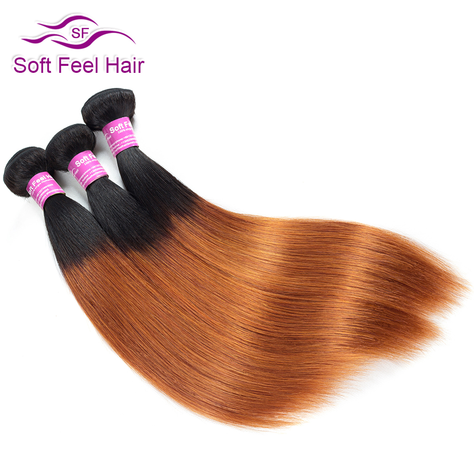 Soft Feel Hair T1B/30 Ombre Hair Bundles Brown Remy Straight Weave Human Hair Bundles Om ...