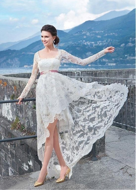 Boho Style Lace Long Sleeves High Low Wedding Dresses Beach 2016 ...