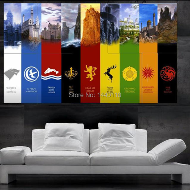 Game Of Thrones Symbols Of Houses Flags Poster Print Wall Art 10