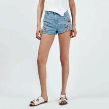 Personalizado Bordado Shorts Mujeres 2017 Verano de La Alta Cintura Pantalones Cortos de Mezclilla Delgada Pantalones Cortos Mujer Plus Tamaño Corto Femme
