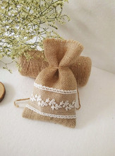 free shipping DIY handmade Jute bag wedding lace candy Branch leaf