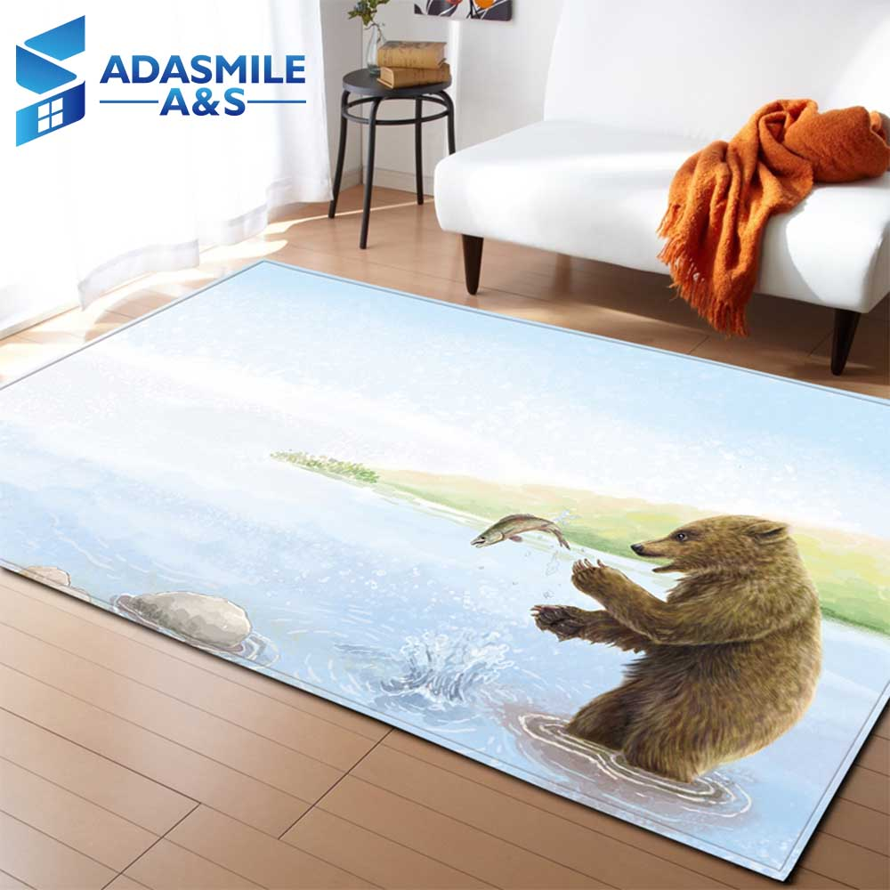 3D Animal Bear Carpets Kids Bed Room Decoration Area Rug Soft Flannel Mat Baby Crawling Play Mats Living Room Rug and Carpet