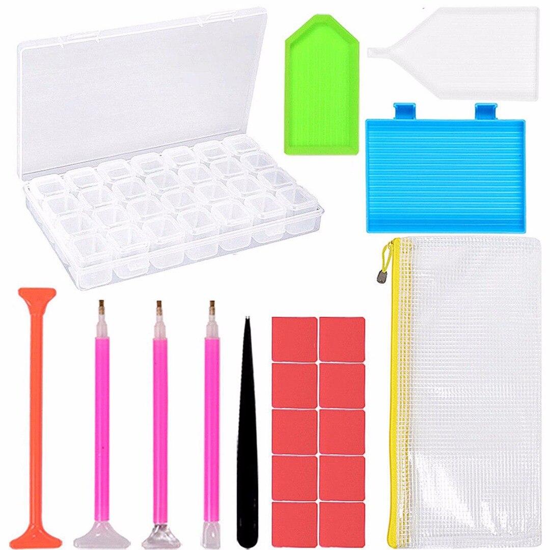 20 stücke 5D Diamant Malerei Werkzeuge 28 Grids Aufbewahrungsbox Klebrigen Stift DIY Stickerei Kreuzstich Tool Kit Für Handgemachte handwerk