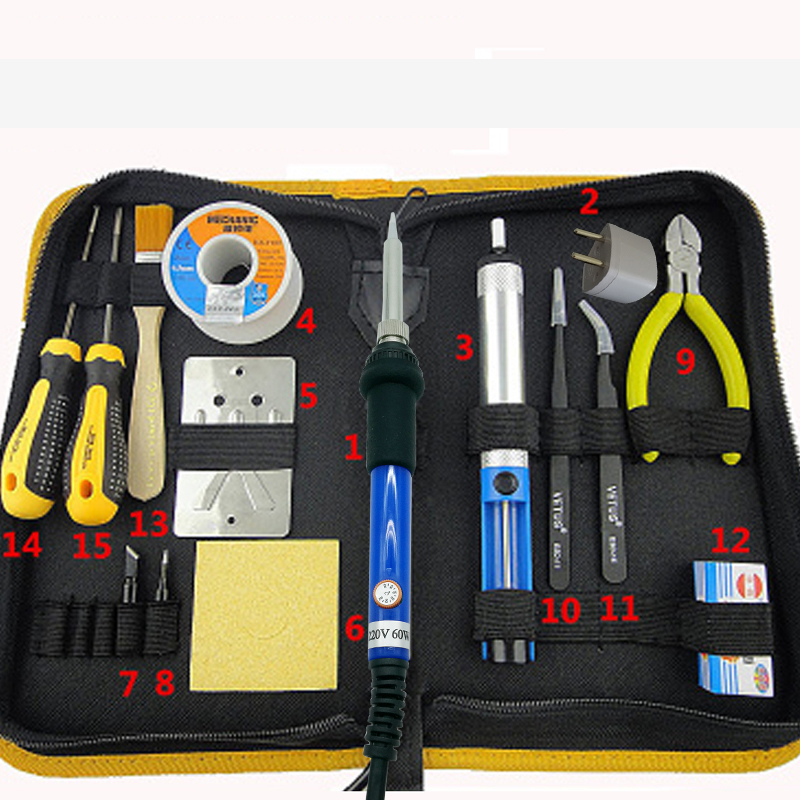 60W 220V Adjustable Temperature Electric Soldering Iron Kit Solder Welding Rework Tools With Soldering Tip Tin Wire 110v 220v 60w adjustable electric temperature gun welding soldering iron tool with tin wire