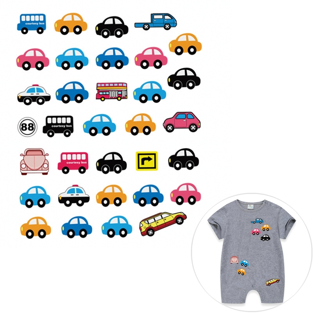 17.5x23cm Car <font><b>Bus</b></font> <font><b>Patch</b></font> Iron On Child Clothes Kids T-shirt Dresses <font><b>Patches</b></font> A-level Washable Heat Transfer Stickers DIY Printing image