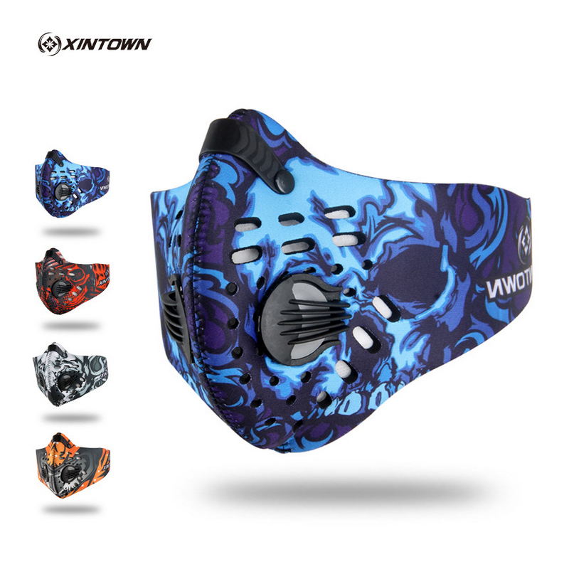 XINTOWN Anti Pollution Ciclismo Cycling Masks Half Face Bike Bicycle With Filter Neoprene Activated Carbon Mesh Cloth