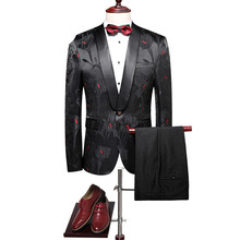 Loldeal Floral Suits Men 2018 Slim Fit Groom Wedding Suit Shawl Collar Tuxedo Jacket Pants Luxury Prom Party Stage Suit
