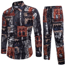 New Men 2 Piece Set Thin Long Sleeve Shirt +Full Length Pants Vintage Casual Suit Printed Male Sets Plus Size 7 colors