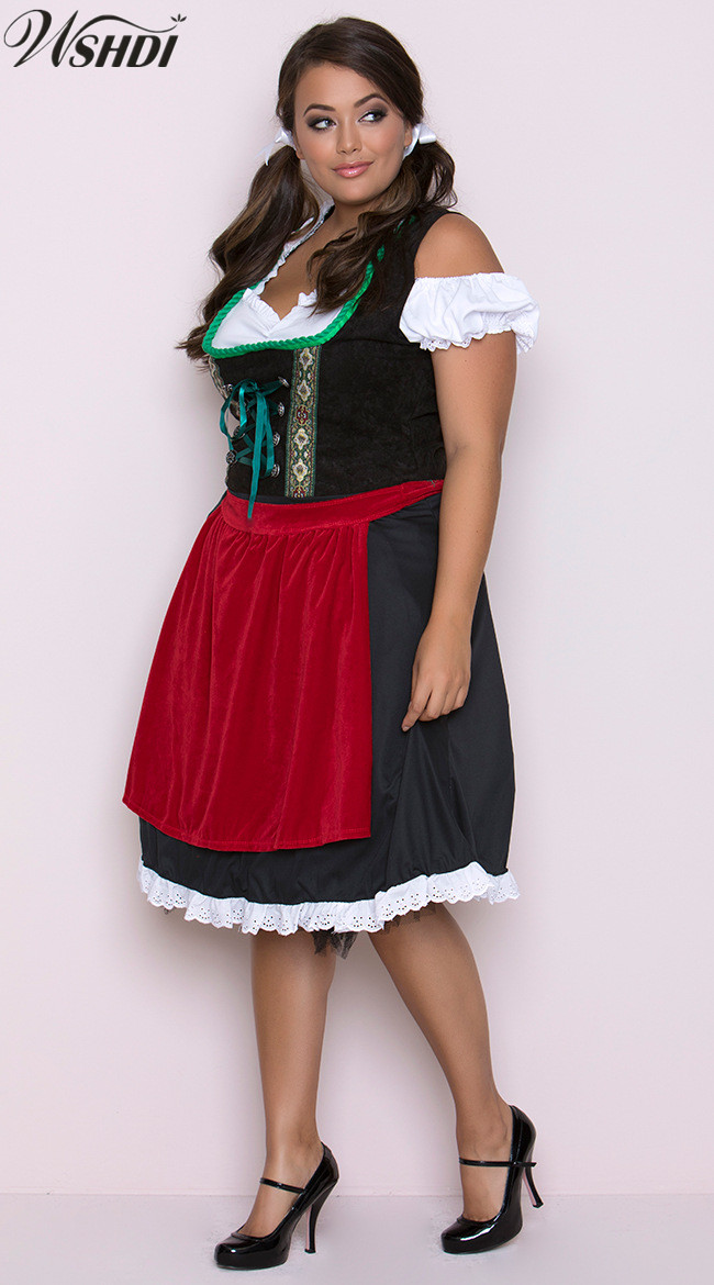2018 New High Quality Oktoberfest Bavarian Beer Girl Dirndl Uniforms German Beer Maid Cosplay Fancy Dress