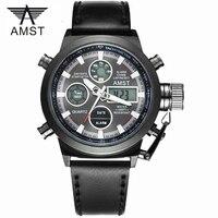 Moda masculina Deporte Militar Relojes de pulsera de 2018 Nueva AMST 5ATM Relojes Hombres Marca de Lujo 50 m de Buceo LED Digital Analógico de Cuarzo relojes