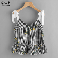 Dotfashion Sash Tie Shoulder Blossom Embroidered Ruffle Gingham Top 2018 Floral V Neck Peplum Woman Top