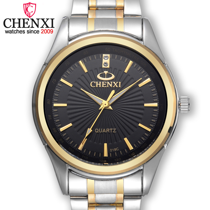 CHENXI Brand Casual Stainless Steel Luxury Watch Men buiness Golden Clock Quartz Male Wristwatch best gift relogio masculino