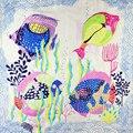 100% Mujeres Bufanda de Seda Bufanda Pañuelo Fish Net Bufanda 2017 Foulard Pañuelo de seda de Impresión Bufanda de Seda Pequeña Plaza Regalo Caliente para La Señora