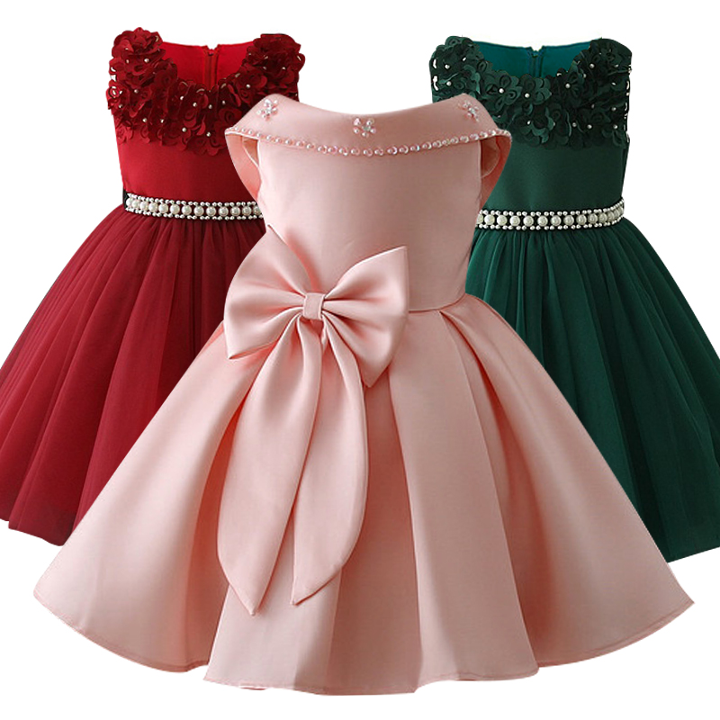 Little Kids Satin First Communion Dresses Glitz Ball Gown Pageant Dress Flower Girl Dresses For Weddings Banquet Back Dress