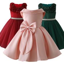 Małe dzieci satynowe sukienki pierwszej komunii Glitz suknia sukienka na konkurs piękności kwiat dziewczyna sukienki na ślub bankietowa sukienka z plecami tanie tanio O-neck Kolan Bez rękawów Suknia balowa dress Czesankowej REGULAR Kwiaty Łuk Flower girl dresses Casual