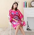 Plus Size Women's Faux Silk Robe Bath Gown Nightgown Pijama Mujer Summer Sleepshirts New Style Sleepwear Printed Zh598C