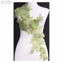 Newest Olive Green/Silver Flower Embroidery Lace Appliques Collar Neckline Dance Dress Costume DECOR Garment Accessories PBNC43R(China)