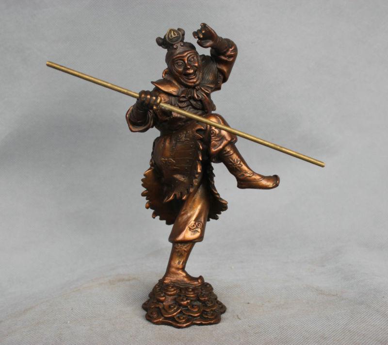 "13/"" Chinese Bronze Buddhism Sun WuKong Monkey King golden cudgel Buddha Statue"