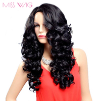 MISS WIG Long Black Wavy Hairstyle Wigs For Black Women Synthetic Wigs