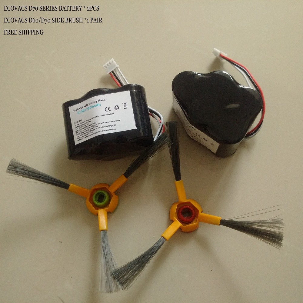 Free Shipping  2 Pieces/lot  Cleaner Battery for Hoover RVC-0010 Rvc 0011 Rvc Robocom2  3500mAh 6V With Free Side brush