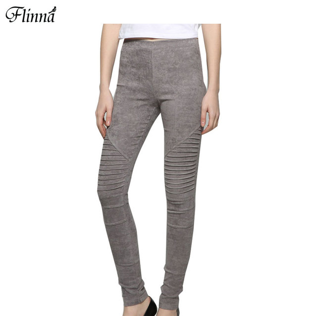 Mulheres primavera silm baixo moto calças leggings para as mulheres estiramento plissado camurça sólida leggings calças lápis 4 cores