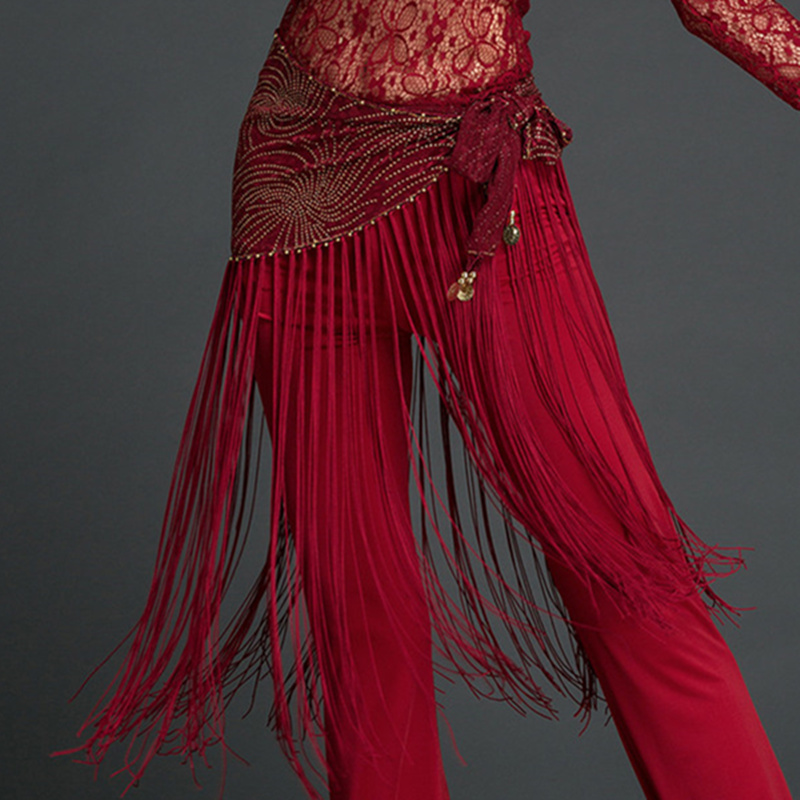 Women Belly Dance Clothes Accessories Stretchy Long Tassel Belt Sequins Belldance Hip Scarf With Coins