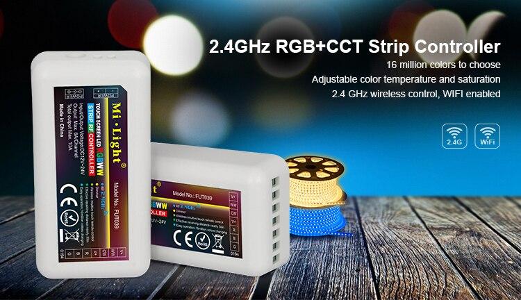 Mi Light FUT039 Wireless 2.4G 4-Zone RF Wireless RGB+CCT LED Controller Dimmer for Flexible 5050 RGB RGBW RGBCW Led Strip Lights mi light wifi controller 4x led controller rgbw 2 4g 4 zone rf wireless touching remote control for 5050 3528 led strip