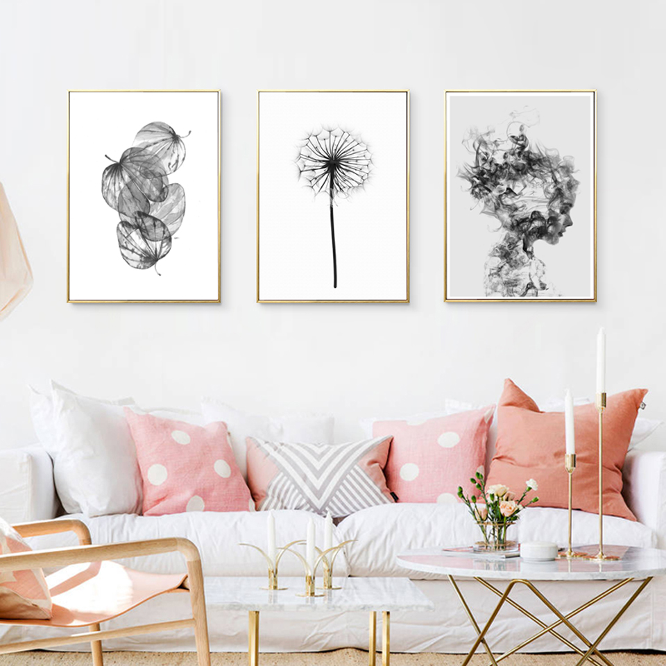 Nordic Abstract Poster And Prints Black White Wall Art Canvas ...