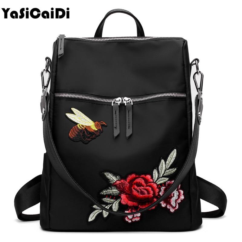 YASICAIDI Handmad Embroidery Flower Women Backpacks Leather School Bag for Teenage Girls Black Nylon Floral Female Backpacks Sac pjcmg handmad 100