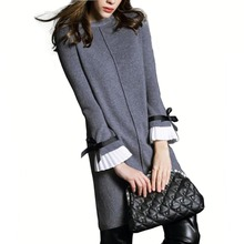England style elegant women spring autumn warm knitted sweater dress flare sleeve bow knot patchwork slim knitwear A-line dress